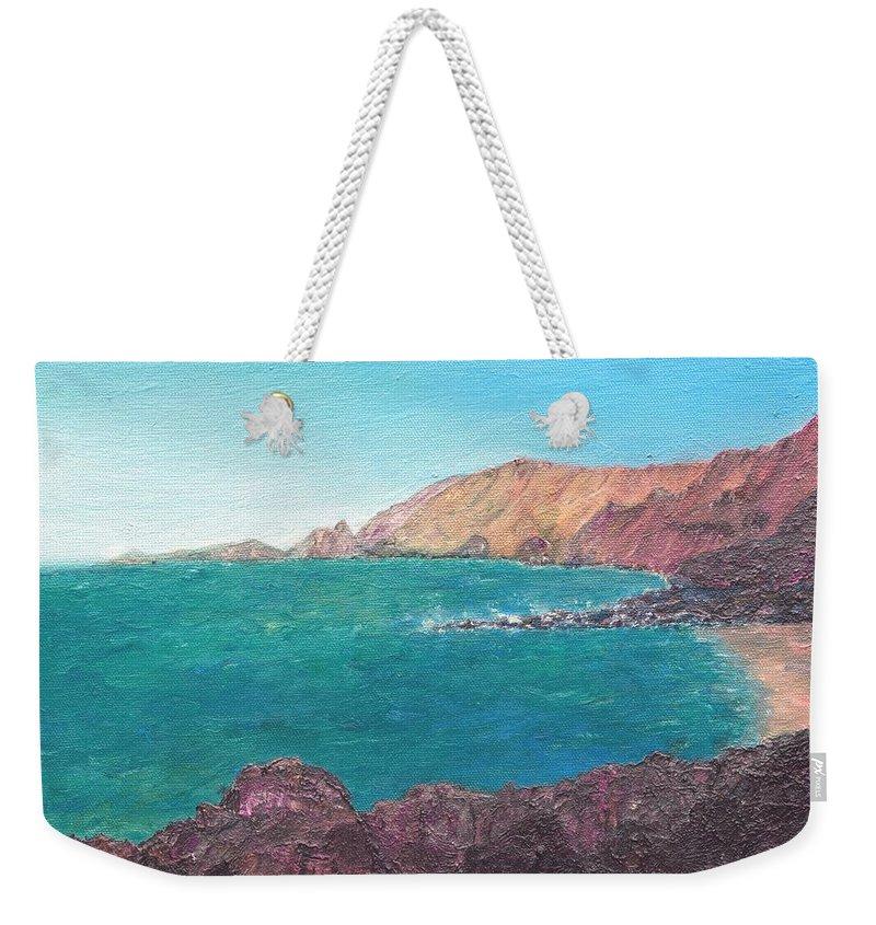 Island Weekender Tote Bag featuring the painting Isla D' El Hierro by Ishwar Malleret