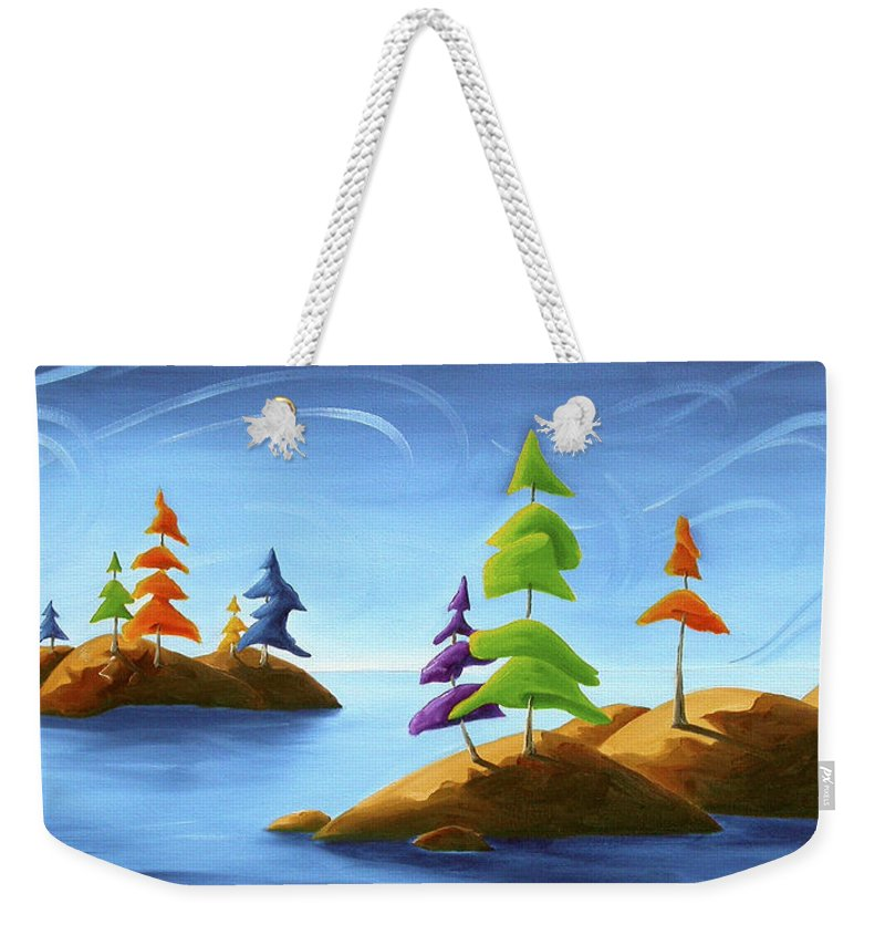 Landscape Weekender Tote Bag featuring the painting Island Carnival by Richard Hoedl