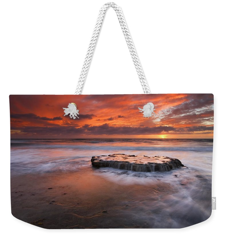 Island Weekender Tote Bag featuring the photograph Island In The Storm by Mike Dawson