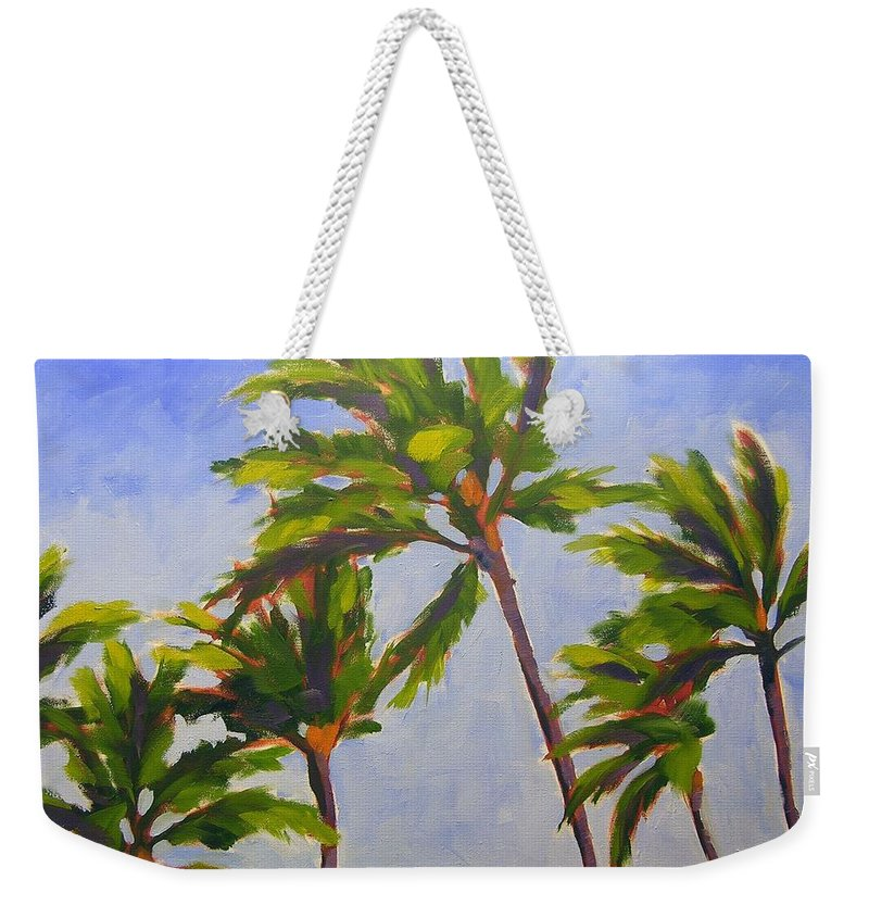 Oil Weekender Tote Bag featuring the painting Island Palms by Mary McInnis
