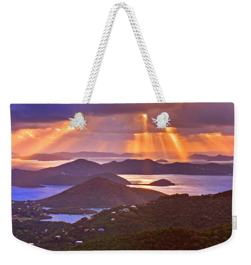 Virgin Islands Weekender Tote Bag featuring the photograph Island Rays by Scott Mahon