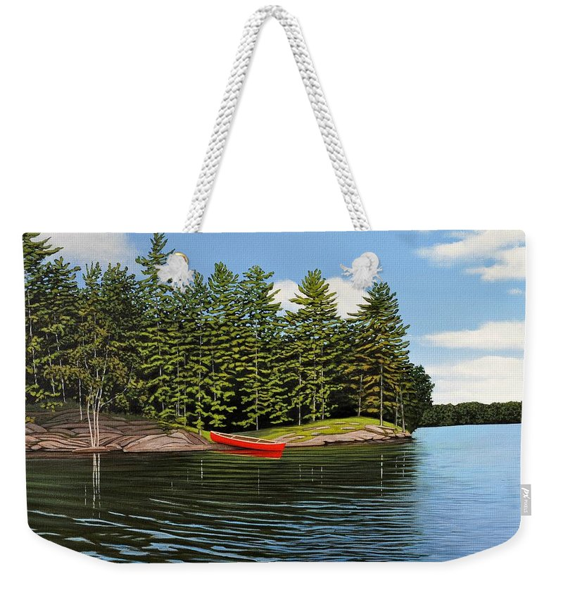 Island Weekender Tote Bag featuring the painting Island Retreat by Kenneth M Kirsch