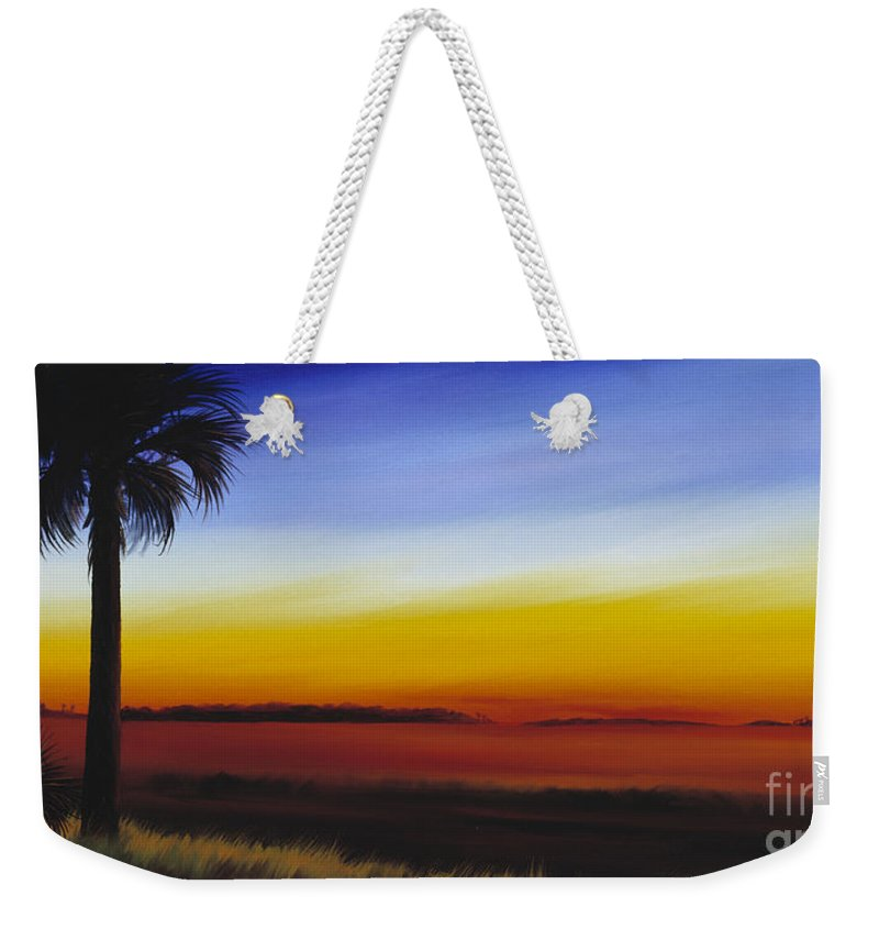 Palmetto Tree Weekender Tote Bag featuring the painting Island River Palmetto by James Christopher Hill
