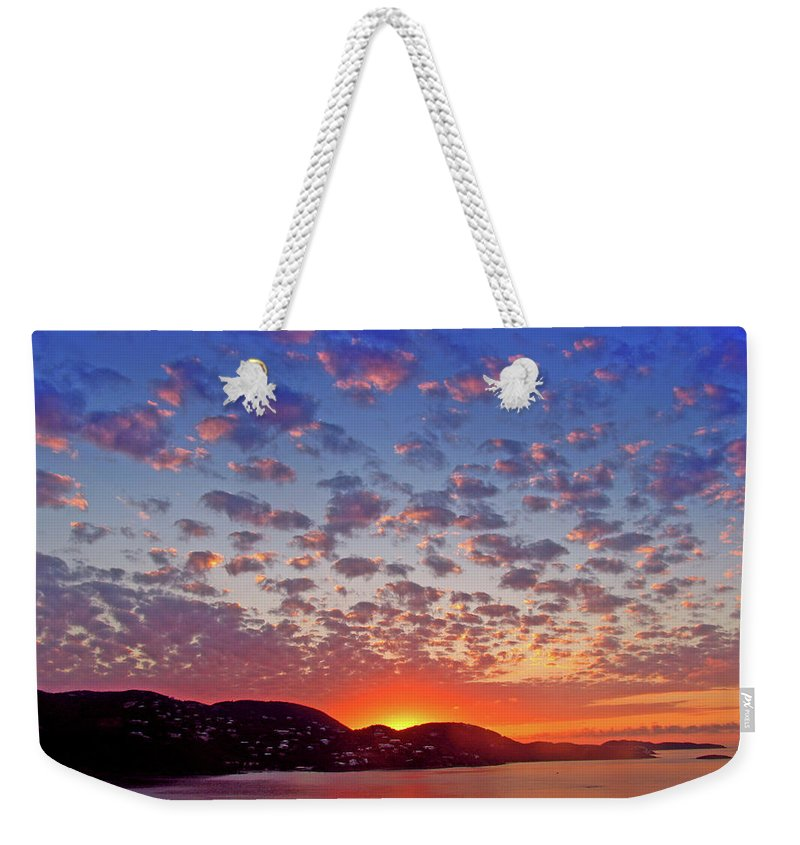 Island Weekender Tote Bag featuring the photograph Island Sunrise by Scott Mahon