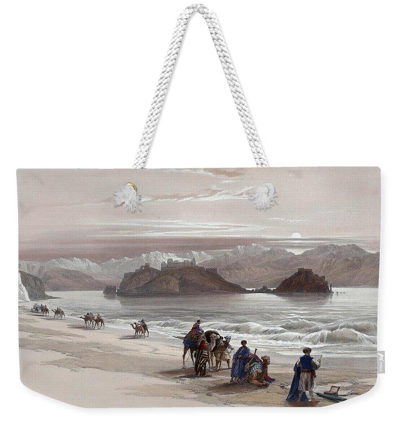Holy Weekender Tote Bag featuring the painting Isle Of Graia Gulf Of Akabah Arabia Petraea Feby 27th 1839 by Munir Alawi