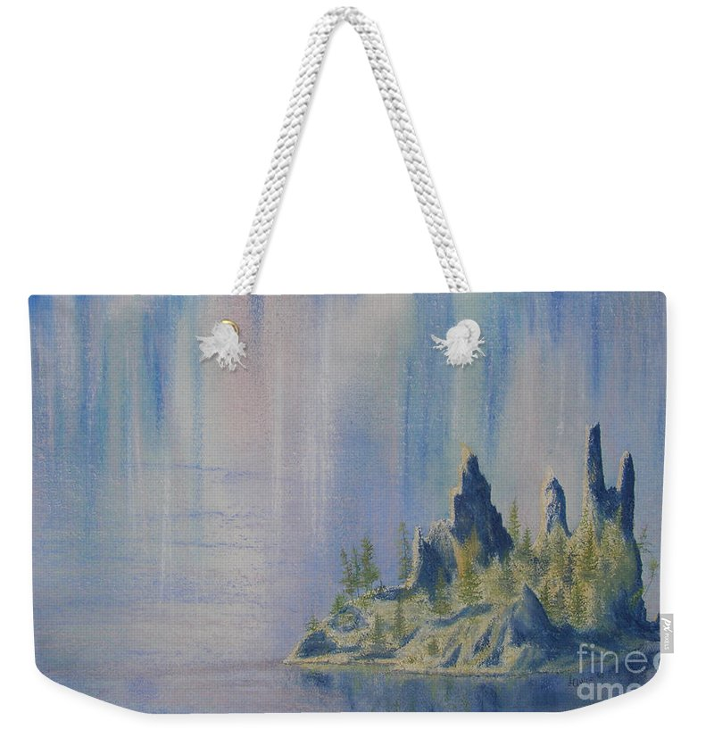 Island Weekender Tote Bag featuring the painting Isle Of Reflection by Lynn Quinn