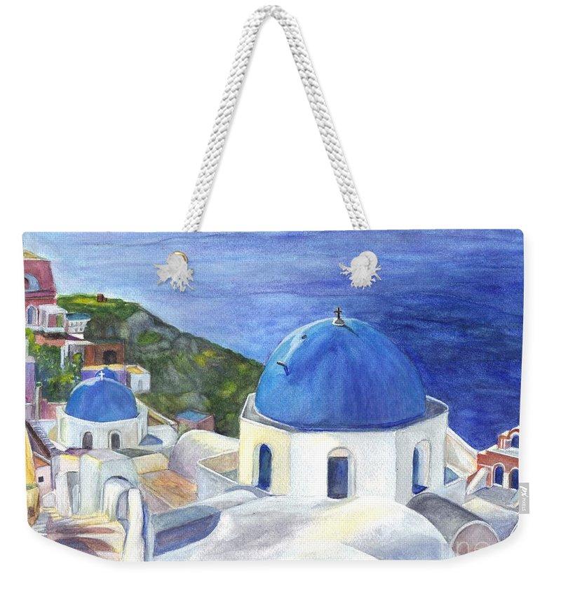 Oai Weekender Tote Bag featuring the painting Isle Of Santorini Thiara In Greece by Carol Wisniewski