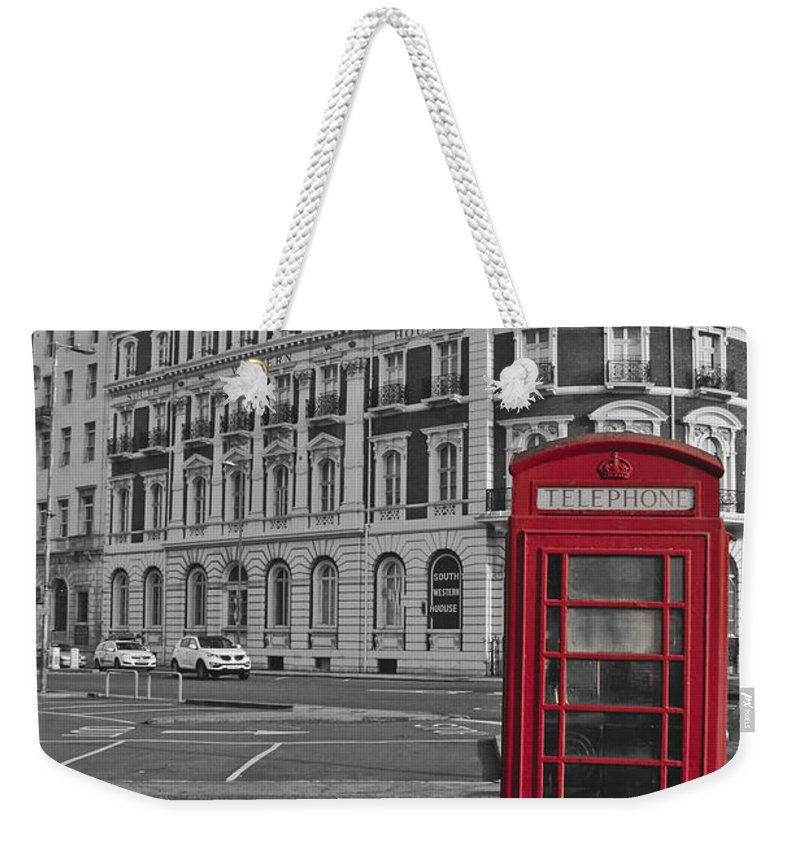 Isolated Colour Weekender Tote Bag featuring the photograph Isolated Phone Box by Terri Waters