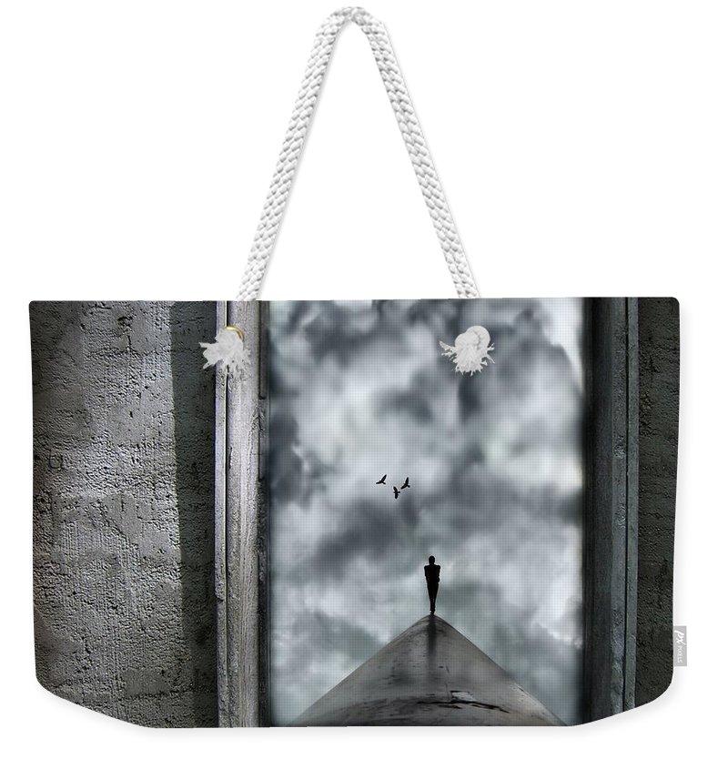 Dark Weekender Tote Bag featuring the painting Isolation by Jacky Gerritsen