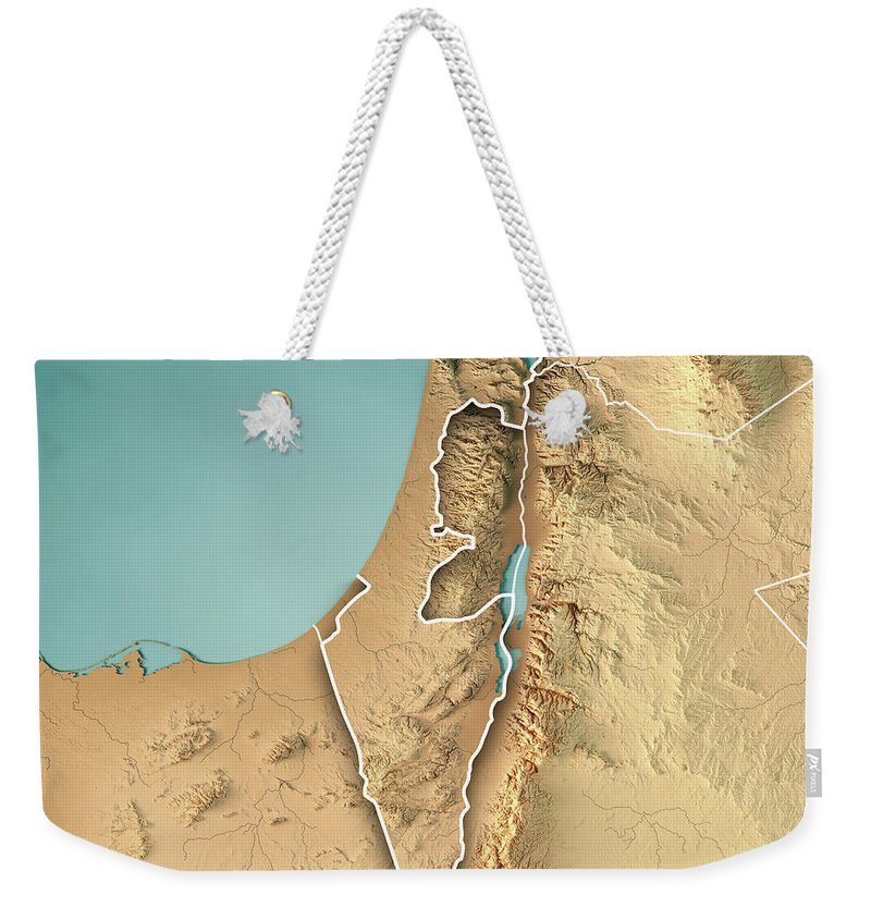 Israel Country 3d Render Topographic Map Border Weekender Tote Bag