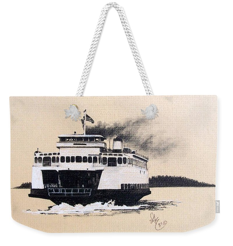 Ferry Weekender Tote Bag featuring the pastel Issaquah by Gale Cochran-Smith