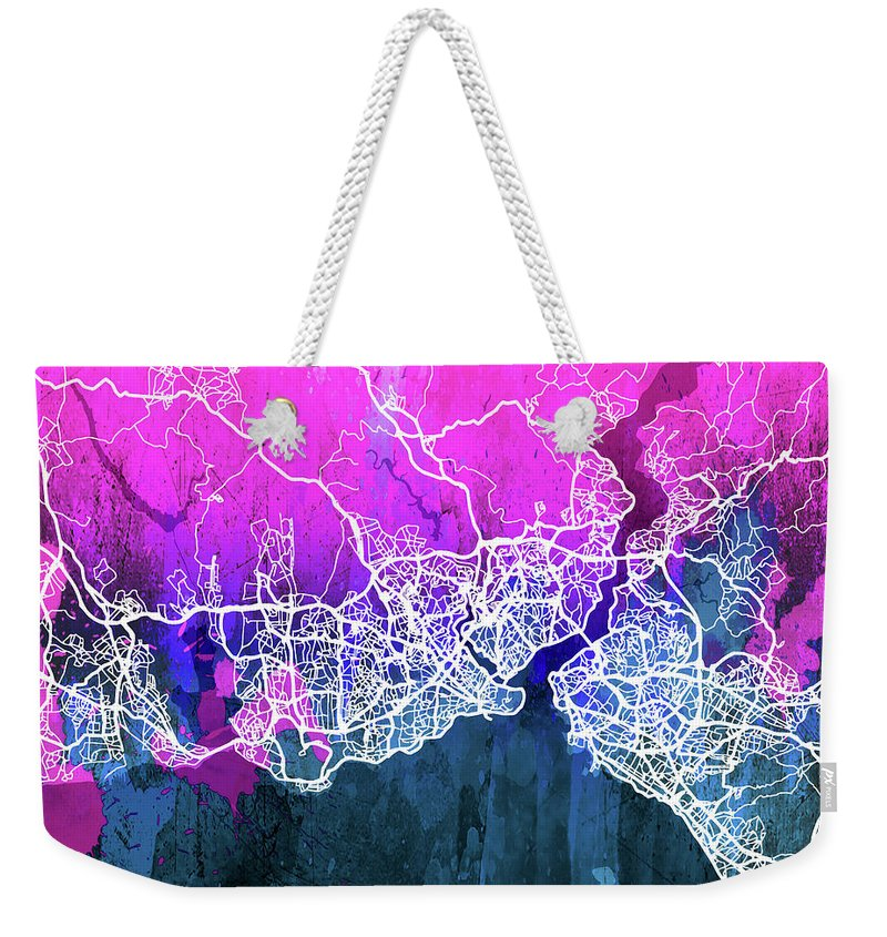 Istanbul Weekender Tote Bag featuring the digital art Istanbul Watercolor by Delphimages Photo Creations