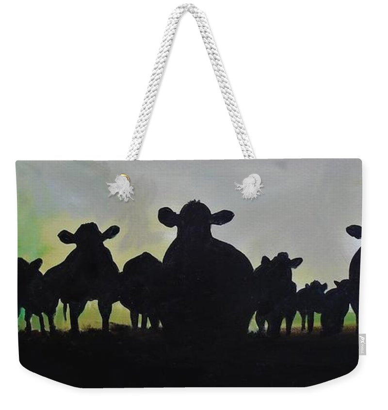 Cow Weekender Tote Bag featuring the painting It Aint Texas by Terence R Rogers
