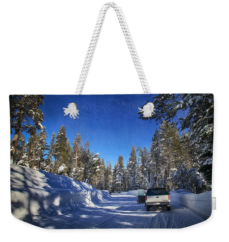 Strawberry Weekender Tote Bag featuring the photograph It Came Down by Laurie Search