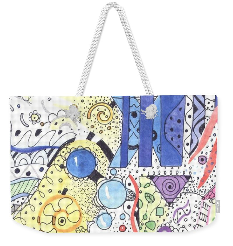 Atoms Weekender Tote Bag featuring the mixed media It Circulates by Helena Tiainen