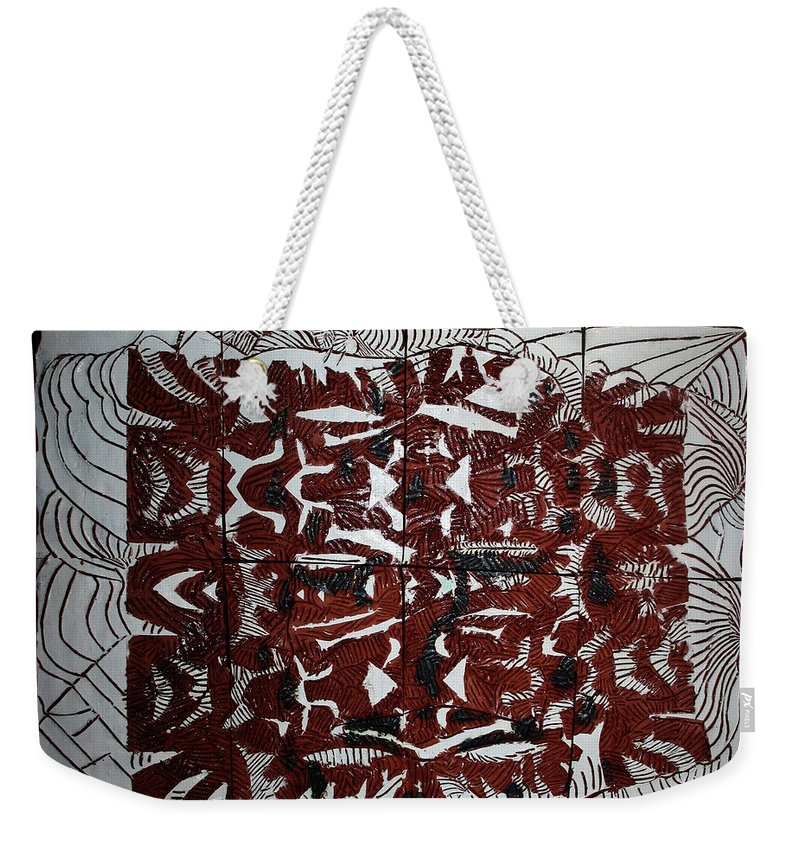 Mama Africa Twojesus Weekender Tote Bag featuring the ceramic art It Is Done by Gloria Ssali