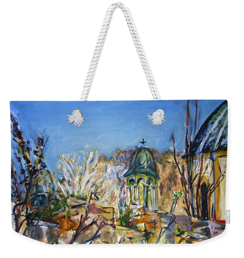 Landscape Weekender Tote Bag featuring the painting It Isnt Visible Anyway by Pablo de Choros
