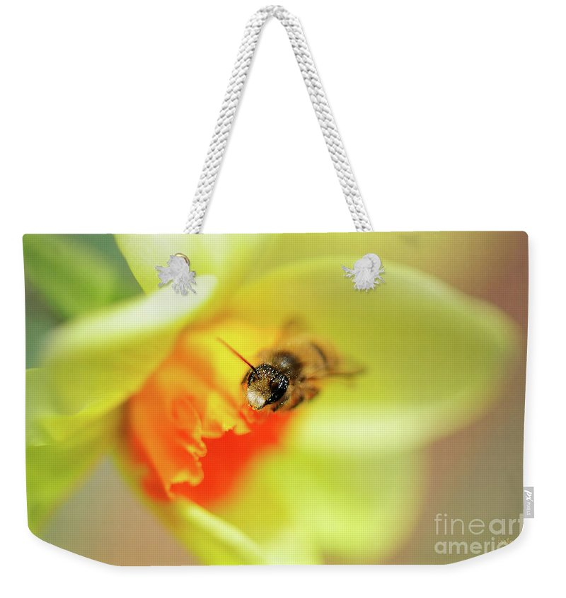 Bee Weekender Tote Bag featuring the photograph It Just Wouldn't Bee Spring Without ... by Lois Bryan