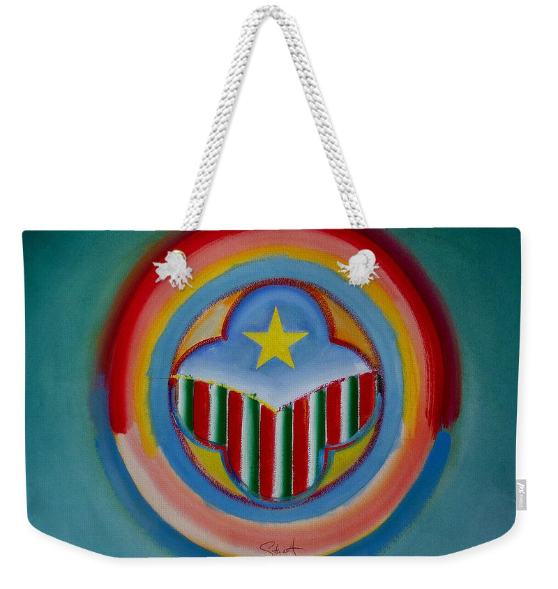 Button Weekender Tote Bag featuring the painting Italian American by Charles Stuart