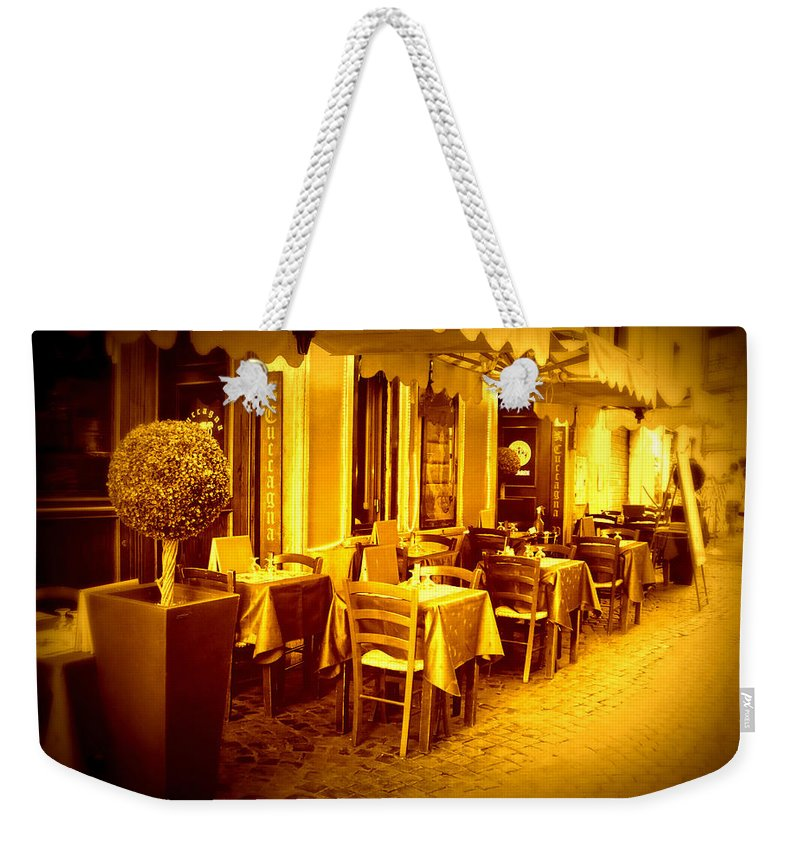 Italy Weekender Tote Bag featuring the photograph Italian Cafe In Golden Sepia by Carol Groenen
