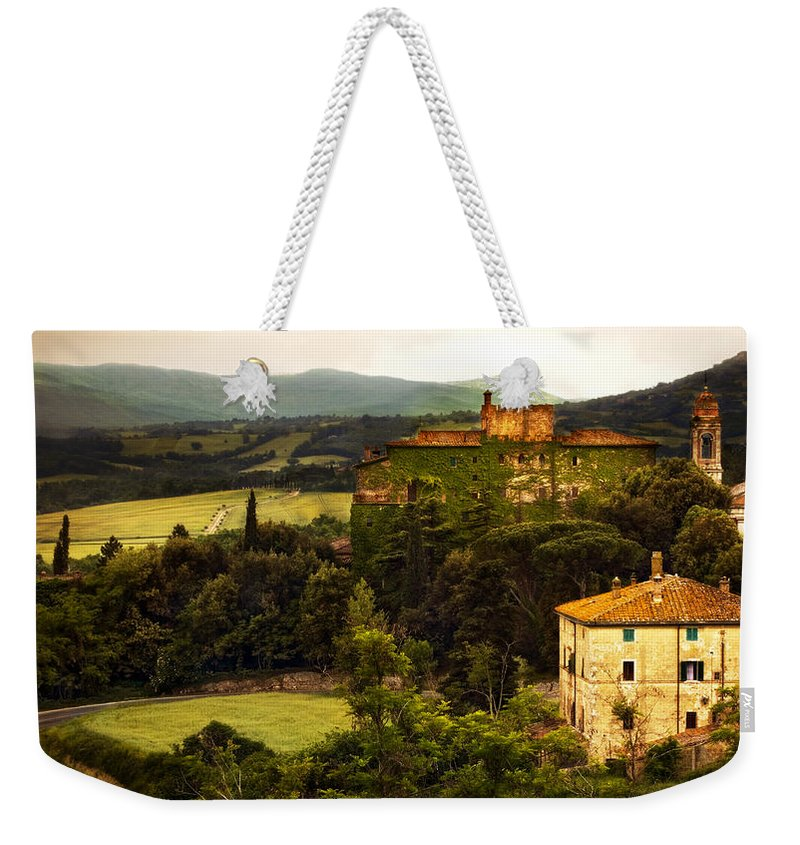Italy Weekender Tote Bag featuring the photograph Italian Castle and Landscape by Marilyn Hunt