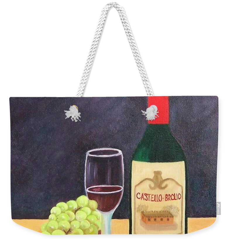 Still Life Weekender Tote Bag featuring the painting Italian Wine And Fruit by Ruth Housley