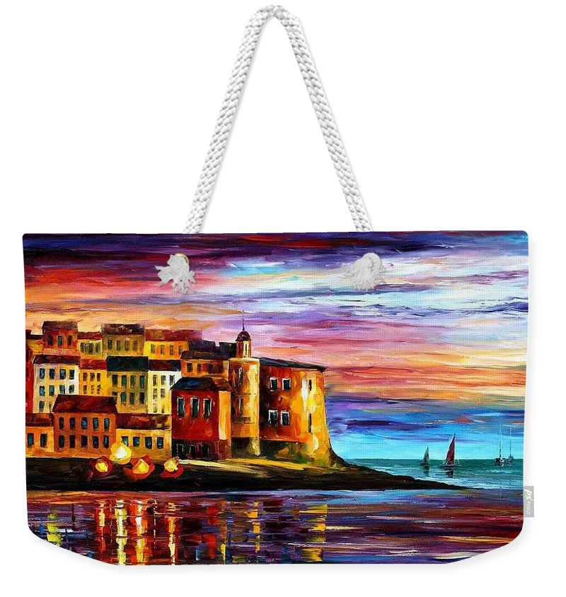 Afremov Weekender Tote Bag featuring the painting Italy - Liguria by Leonid Afremov