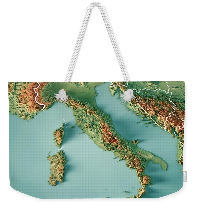 Italy Weekender Tote Bag featuring the digital art Italy Country 3d Render  Topographic Map Border by a6ad395610cd0