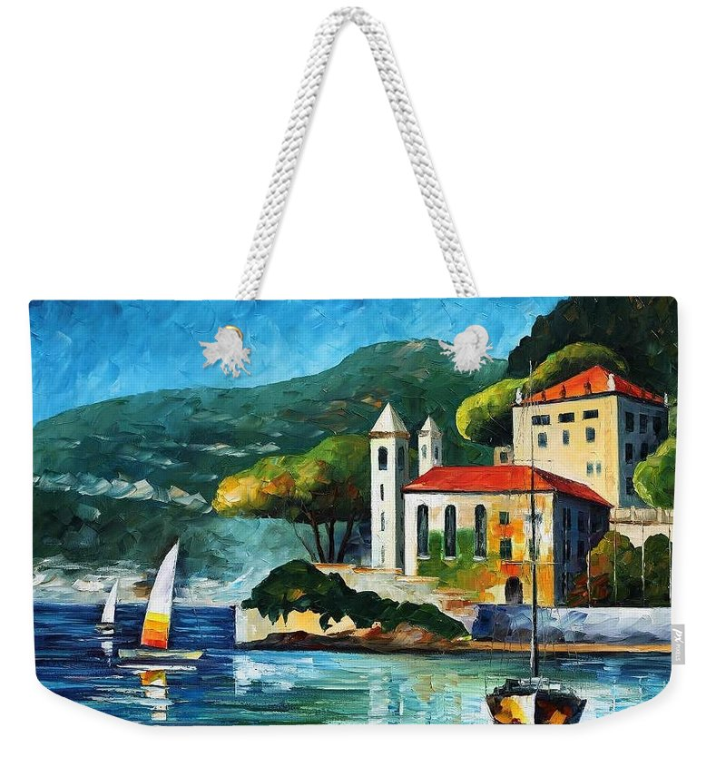 Afremov Weekender Tote Bag featuring the painting Italy Lake Como Villa Balbianello by Leonid Afremov