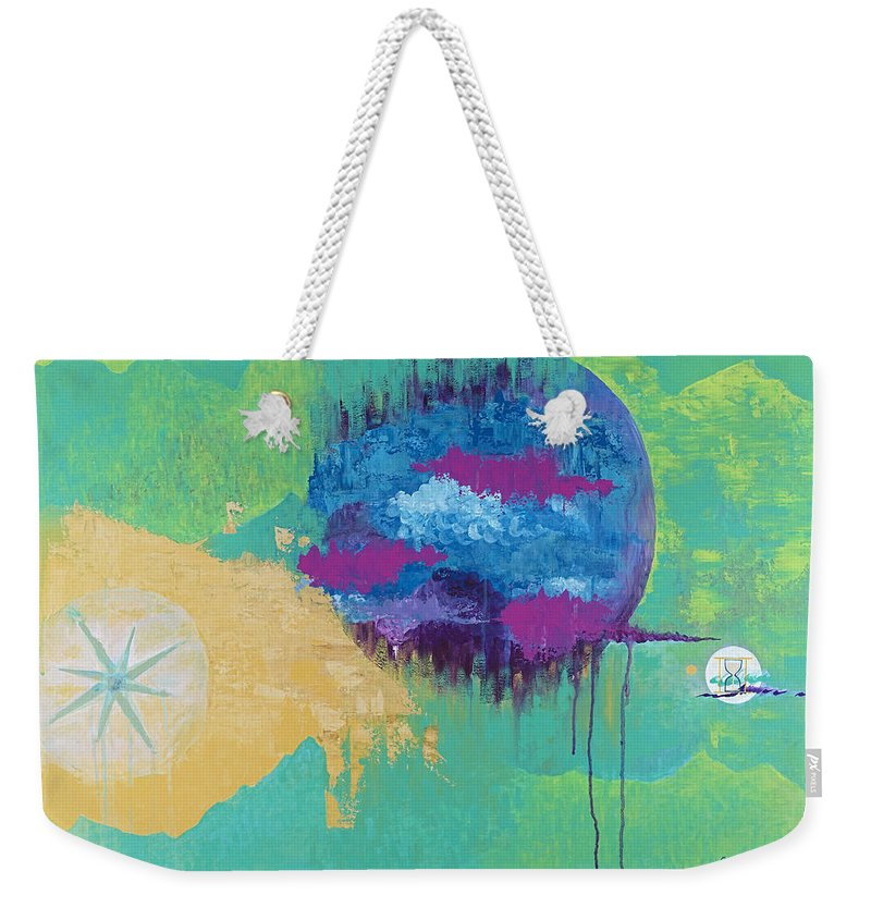 Abstract Weekender Tote Bag featuring the painting Itinerant Shift by Robin Winningham