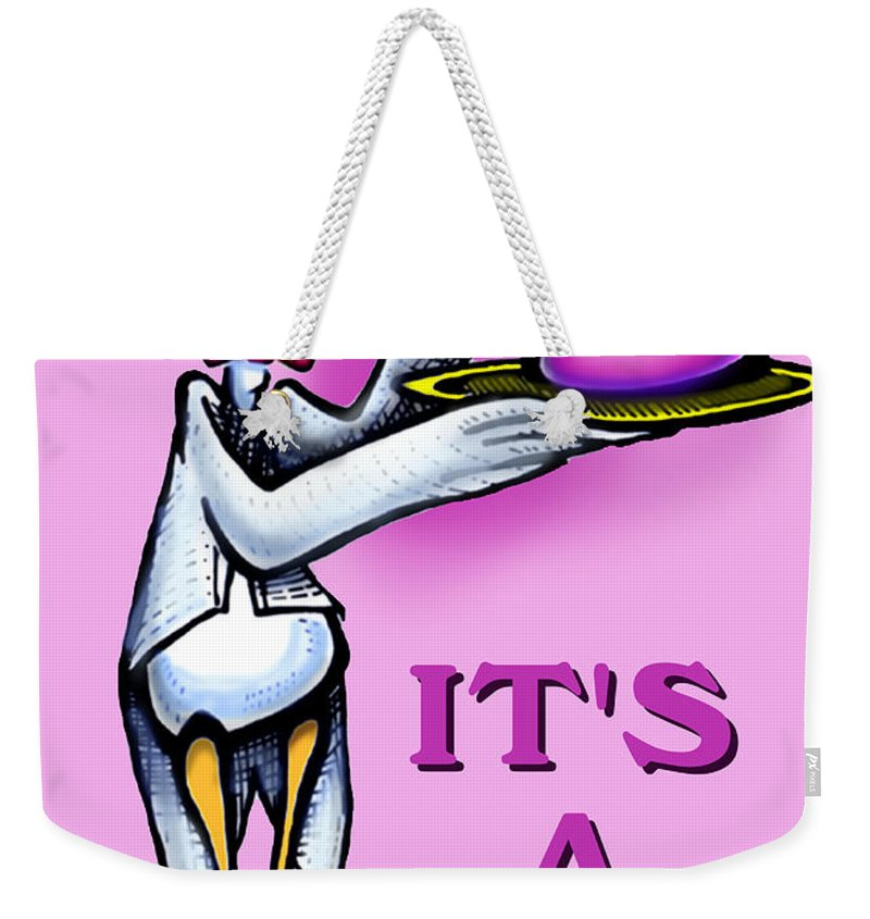 Girl Weekender Tote Bag featuring the greeting card Its A Girl by Kevin Middleton