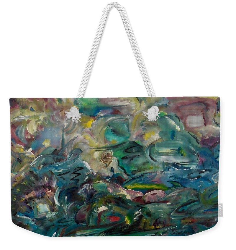 Abstract Weekender Tote Bag featuring the painting Charming Chasms Series It's A Jungle by Sara Credito