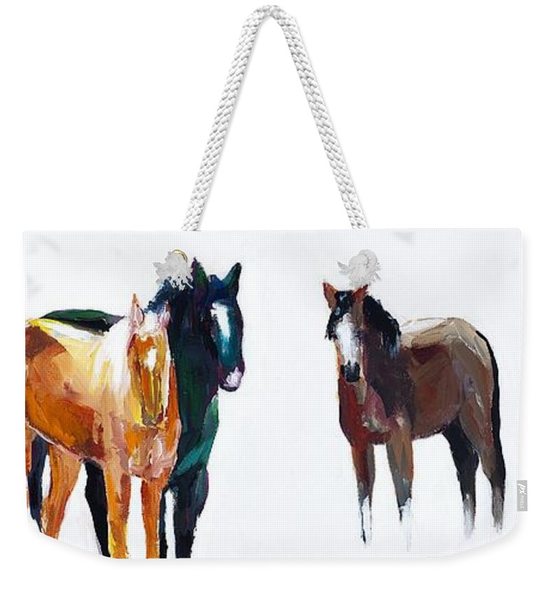 Horses Weekender Tote Bag featuring the painting It's All About The Horses by Frances Marino