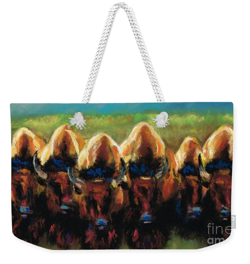 Bison Weekender Tote Bag featuring the painting Its All Bull by Frances Marino