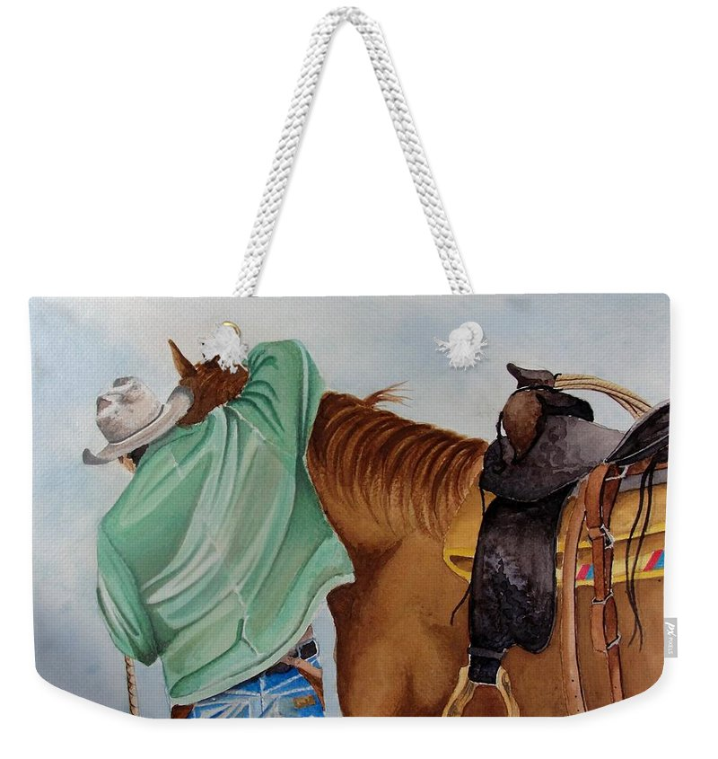 Boots Weekender Tote Bag featuring the painting Its Just Us by Jimmy Smith