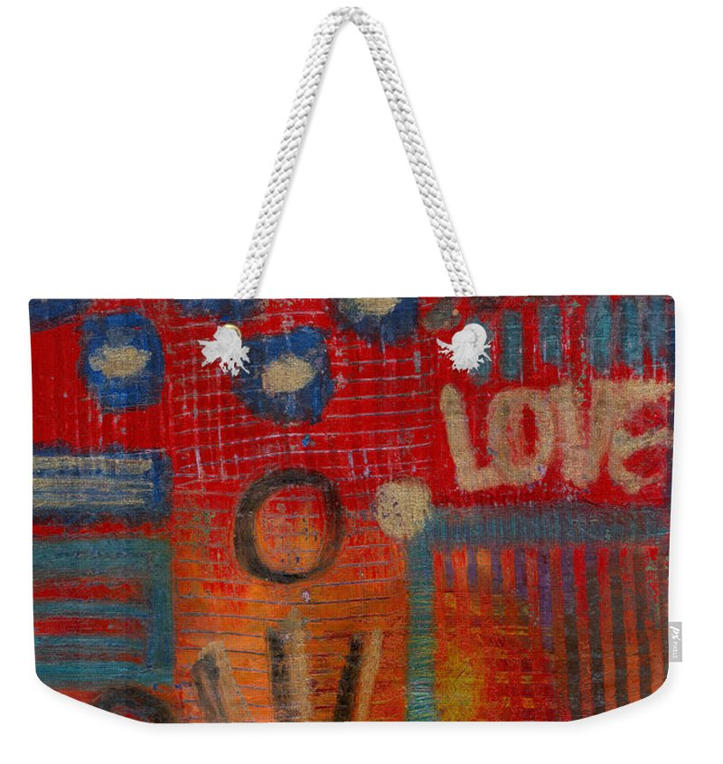 Gretting Cards Weekender Tote Bag featuring the mixed media It's Love by Angela L Walker