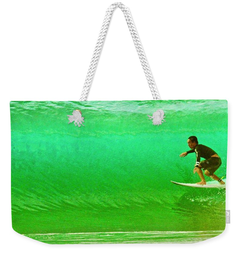 Surf Weekender Tote Bag featuring the photograph It's Not Easy Being Green by Mike Judice