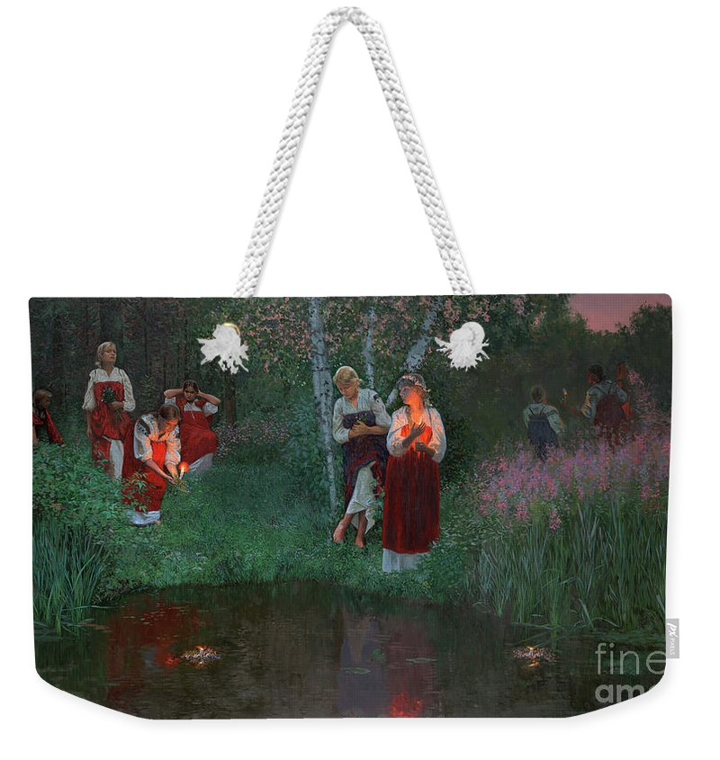 Girs Weekender Tote Bag featuring the painting Ivan Kupala. Fortunetelling For Wreaths. by Simon Kozhin