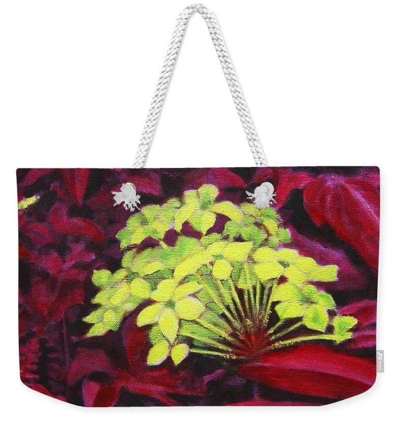 Foliage Weekender Tote Bag featuring the painting Ixora - Jungle Flame by Usha Shantharam
