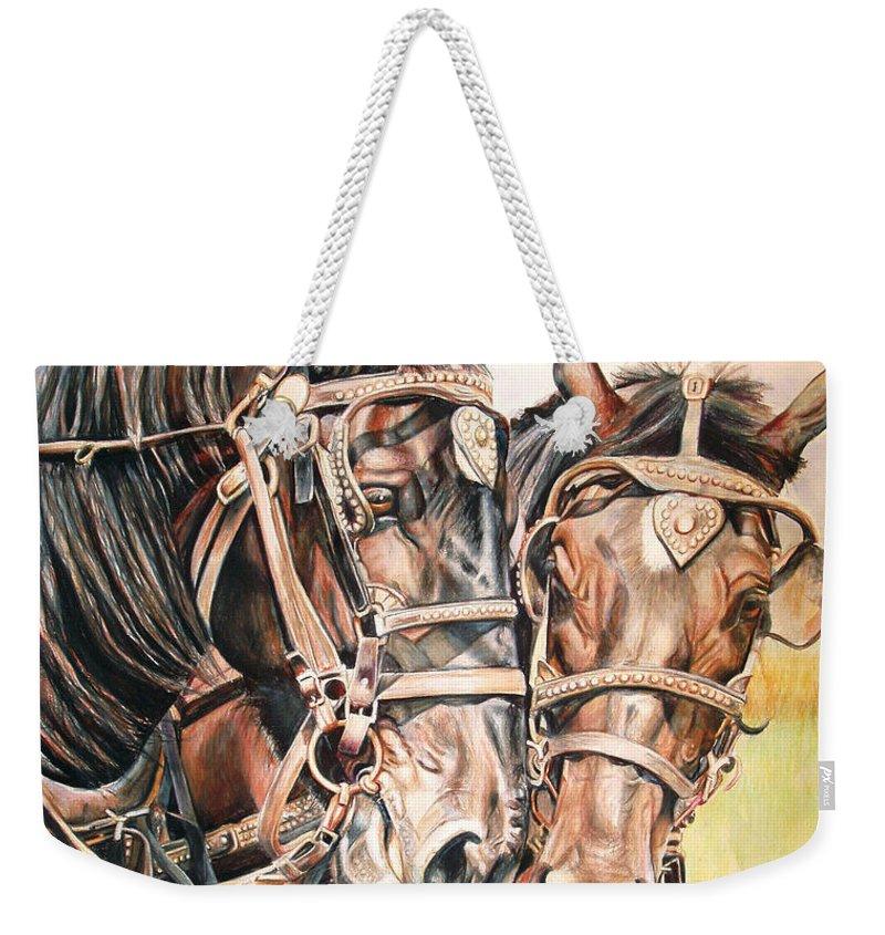 Black Weekender Tote Bag featuring the painting Jack And Joe Hard Workin Horses by Toni Grote