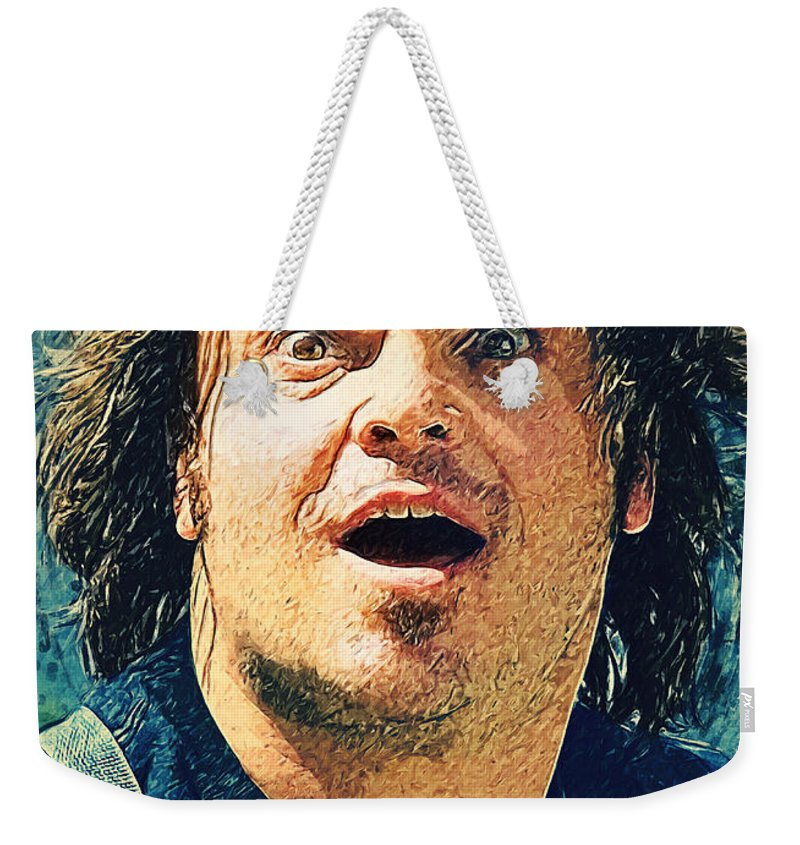 Jack Black Weekender Tote Bag featuring the digital art Jack Black - Tenacious D by Zapista