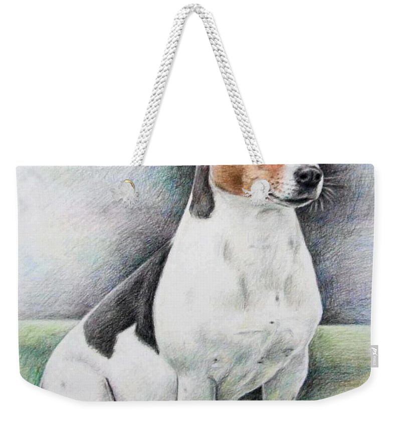 Dog Weekender Tote Bag featuring the drawing Jack Russell Terrier by Nicole Zeug