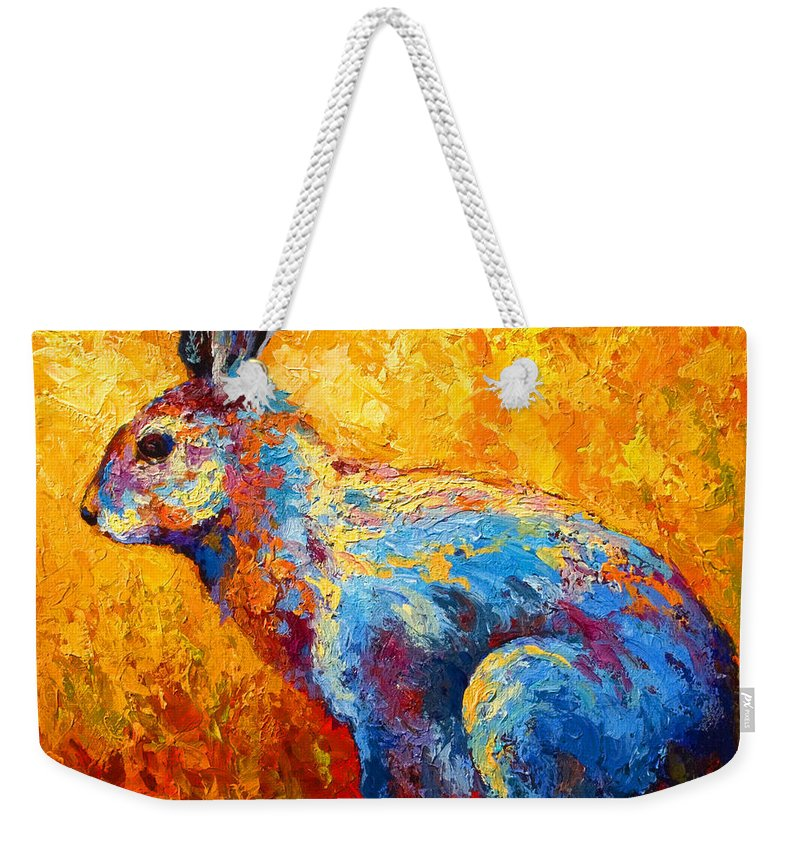 Rabbit Weekender Tote Bag featuring the painting Jackrabbit by Marion Rose