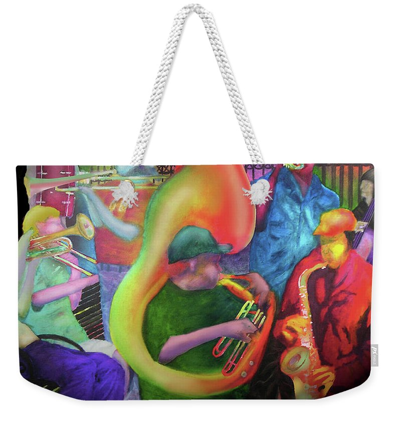 Jazz Weekender Tote Bag featuring the painting Jackson Square New Orleans by Larry Rice