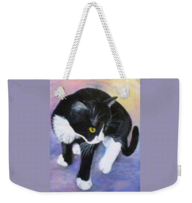 Black And White Cat Weekender Tote Bag featuring the painting Jacob's First Day At Home by Sandra Maddox