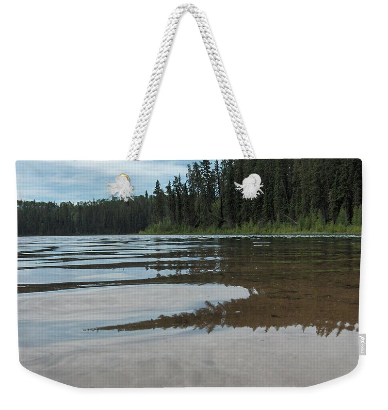 Jade Lake Piprell Lake Hanson Lake Road Northern Saskatchewan Water Clear Forest Trees Weekender Tote Bag featuring the photograph Jade Lake by Andrea Lawrence