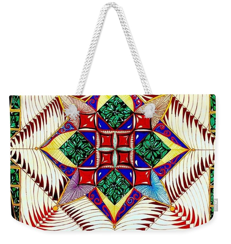 Lines Weekender Tote Bag featuring the drawing Jaded Flower by Christopher Sims