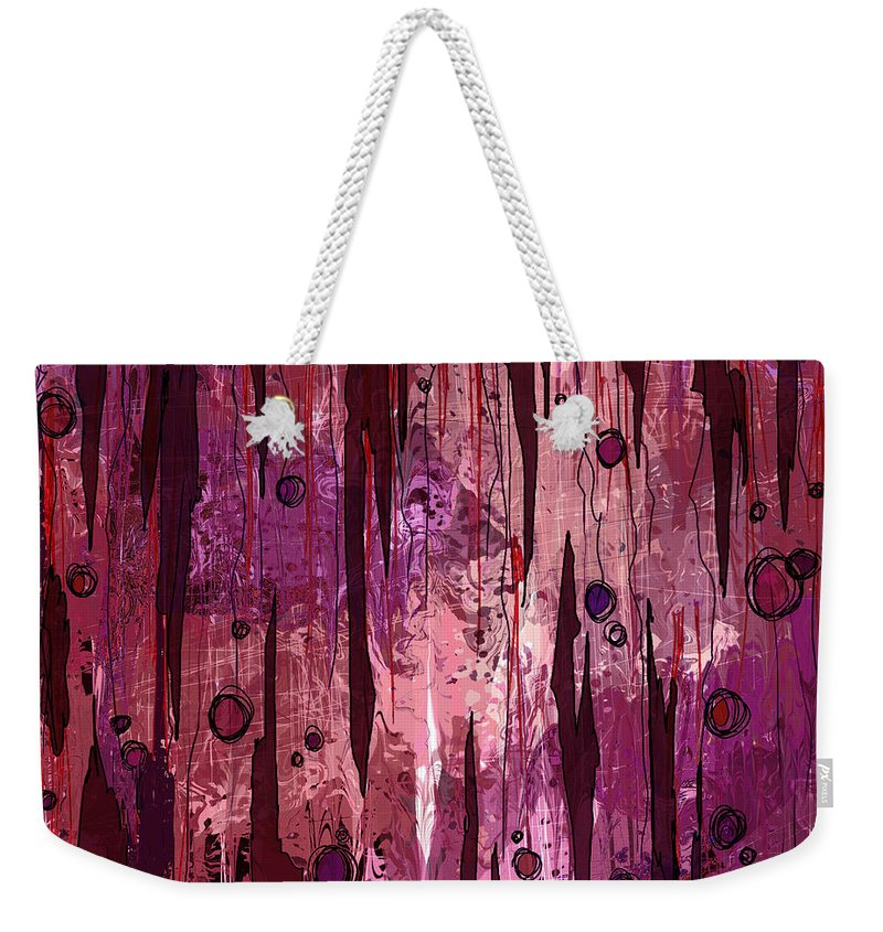 Abstract Weekender Tote Bag featuring the digital art Jagged Edges by Rachel Christine Nowicki