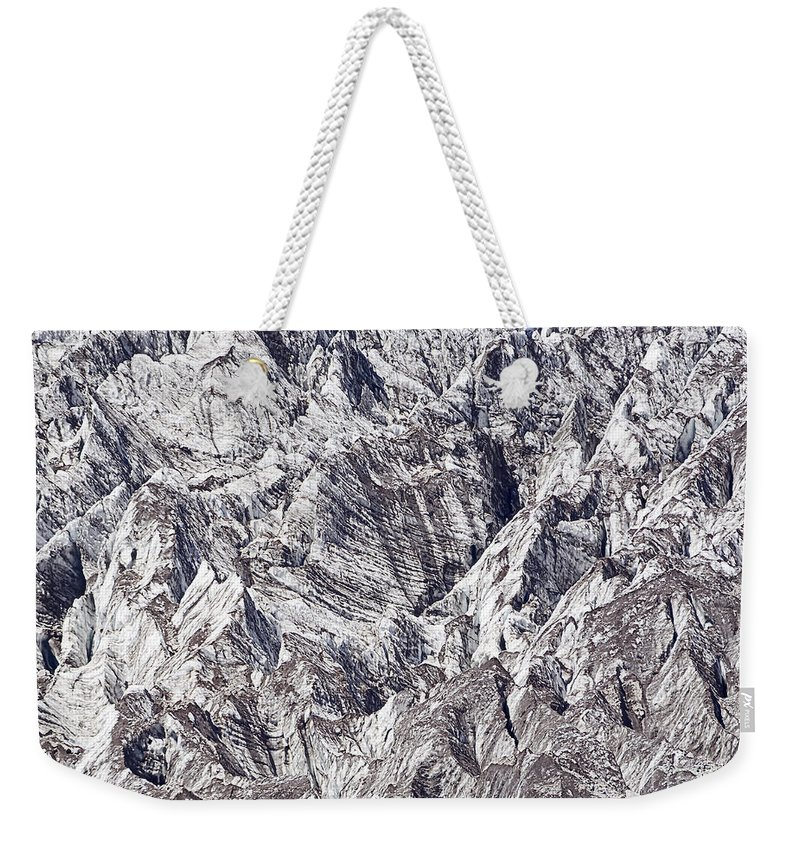 Alpine Weekender Tote Bag featuring the photograph Jagged Glacier by Marv Vandehey