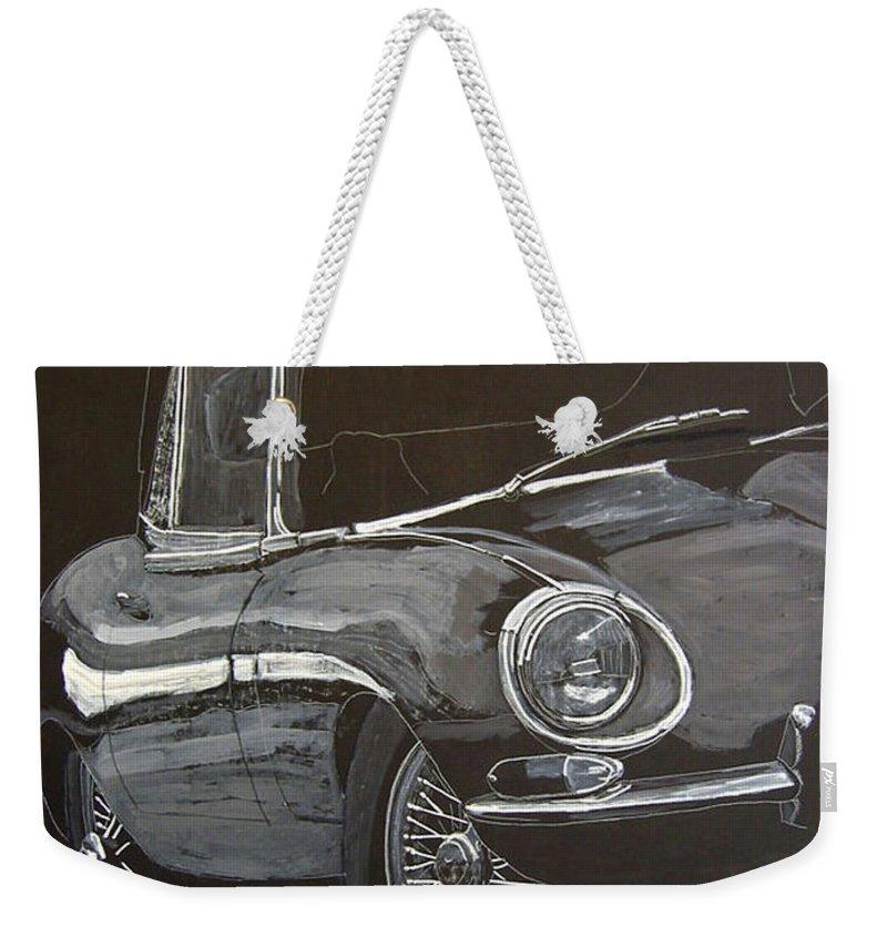 Jaguar Weekender Tote Bag featuring the painting Jaguar E Type by Richard Le Page